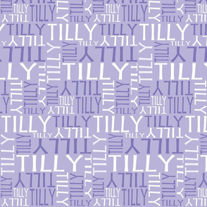 Personalised Name Fabric - Little Birdy Purple/Lavender