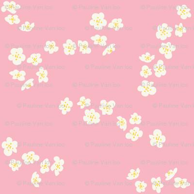White blossom on pink
