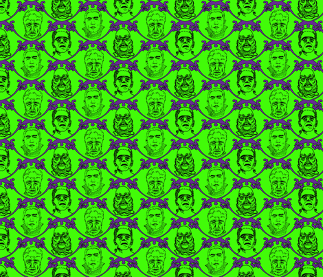 Hollywood Hunks, Zombie Green fabric by belindabilly on Spoonflower - custom fabric