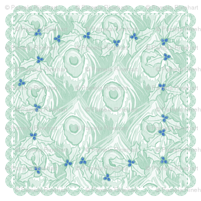 holiday cocktail napkins - peacock - mint