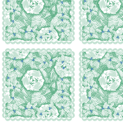 holiday cocktail napkins - koi - mint fabric by glimmericks on Spoonflower - custom fabric