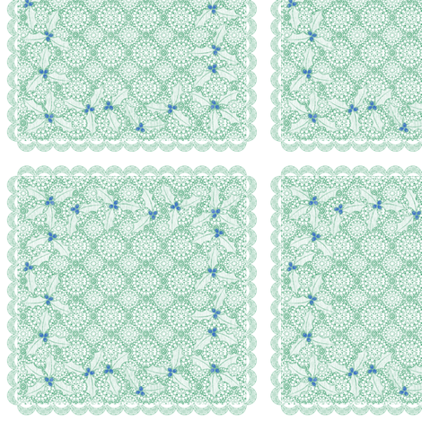 holiday cocktail napkins - lacey - mint fabric by glimmericks on Spoonflower - custom fabric