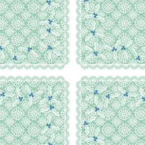 holiday cocktail napkins - lacey - mint