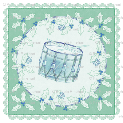 holiday cocktail napkins - delft drum - mint