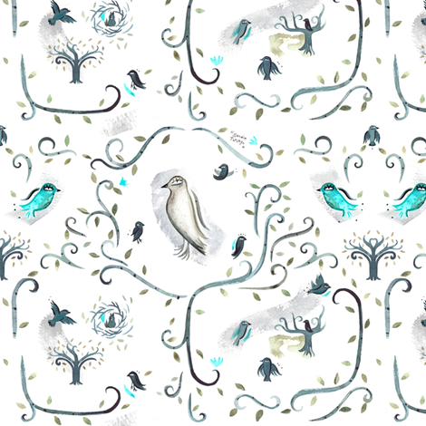 arbre_oiseau fabric by sandie_tee on Spoonflower - custom fabric