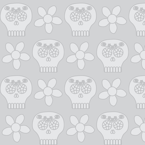Day of the Deadhead (grey) fabric by bippidiiboppidii on Spoonflower - custom fabric