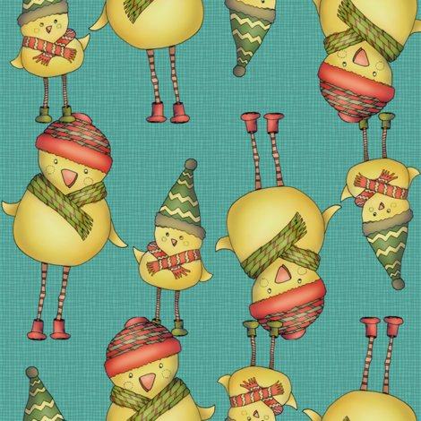Rr001_xmas_two_chicks_fabric_v2_teal_shop_preview