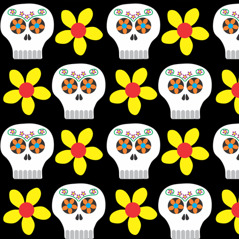 Day of the Deadhead (colour) fabric by bippidiiboppidii on Spoonflower - custom fabric
