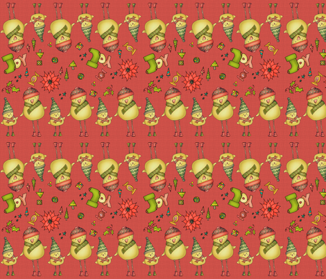 Two Chicks - Stripy - red fabric by catru on Spoonflower - custom fabric