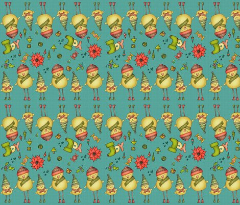 R001_xmas_two_chicks_fabric_v3_teal_shop_preview