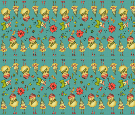 Two Chicks - Stripy - teal fabric by catru on Spoonflower - custom fabric