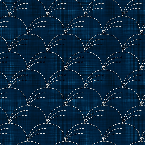 Sashiko: Nowaki - Wind-blown grasses fabric by bonnie_phantasm on Spoonflower - custom fabric