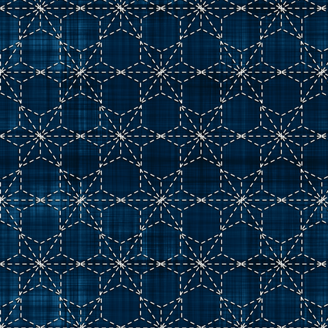 Sashiko: Tobi asa-no-ha - Scattered hemp leaf fabric by bonnie_phantasm on Spoonflower - custom fabric