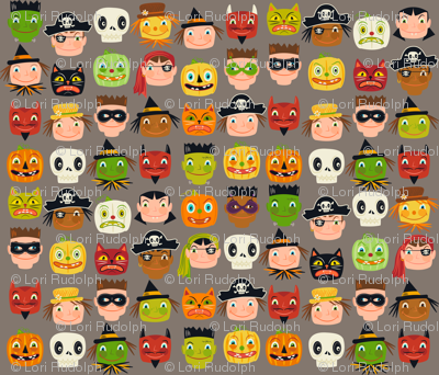 I spy a disguise ~ Halloween faces (on warm grey)