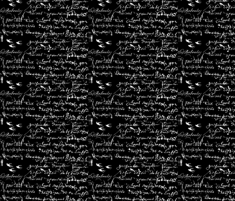 French Script  Black and white #0white and #Fblack fabric by karenharveycox on Spoonflower - custom fabric