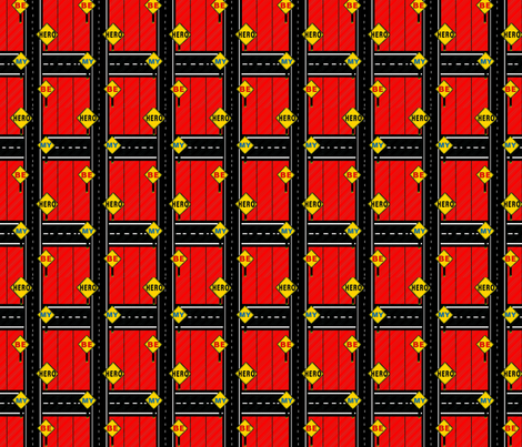 Be My Hero Streetsigns red fabric by joojoostrees on Spoonflower - custom fabric
