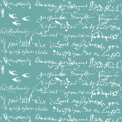 French Script white on bold teal fabric by karenharveycox on Spoonflower - custom fabric