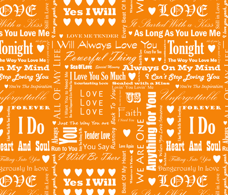 Love_Songs_White_Text_Orange_1_S fabric by ecepelin on Spoonflower - custom fabric