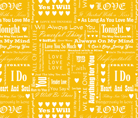 Love_Songs_White_Text_Yellow_2_S fabric by ecepelin on Spoonflower - custom fabric