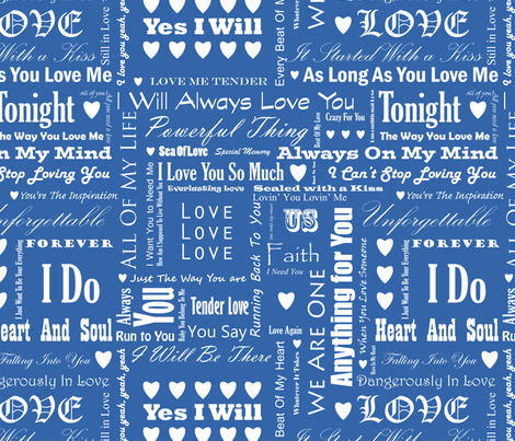 Love_Songs_White_Text_Blue_4_S fabric by ecepelin on Spoonflower - custom fabric