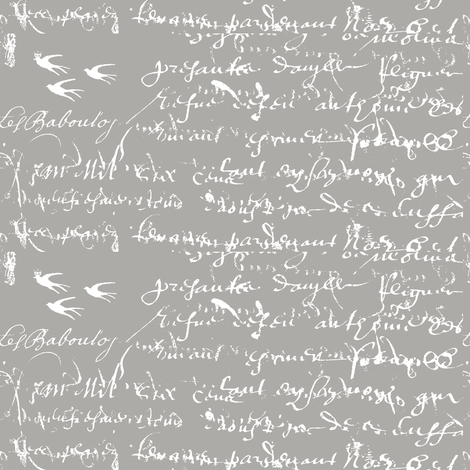 French Script, White on Gray fabric by karenharveycox on Spoonflower - custom fabric