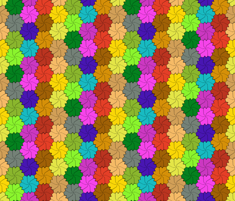 Colorful Floral Tessellated Hexagon - Red, Blue, Brown, Purple, Yellow, Orange, Green fabric by zephyrus_books on Spoonflower - custom fabric