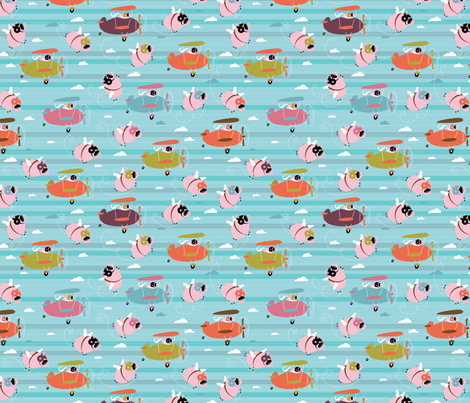 Tiny Pigs CAN Fly fabric by cynthiafrenette on Spoonflower - custom fabric
