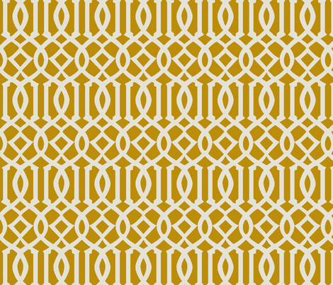 Imperial Trellis-Mustard fabric by melberry on Spoonflower - custom fabric