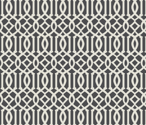 Imperial Trellis-Dark Gray fabric by melberry on Spoonflower - custom fabric