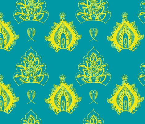 henna yellow floral fabric by fable_design on Spoonflower - custom fabric