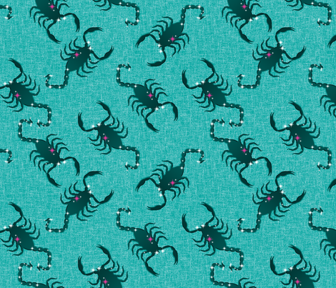 A Sting in the Tail - The Scorpion Creeps Across the Jade Sky fabric by inscribed_here on Spoonflower - custom fabric
