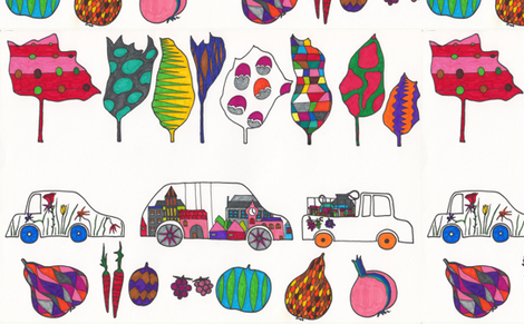 cars, trees, fruits