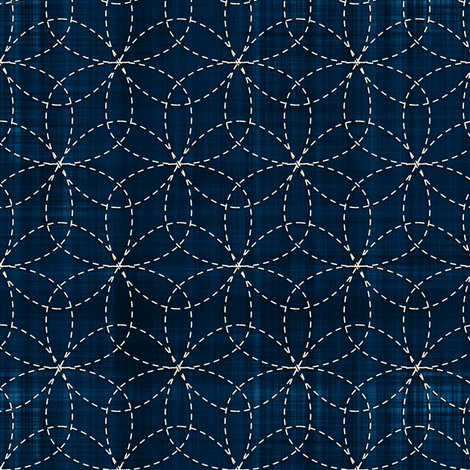 Sashiko: Hana-Zashi - Flower fabric by bonnie_phantasm on Spoonflower - custom fabric