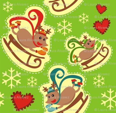 Green Reindeer Sleigh