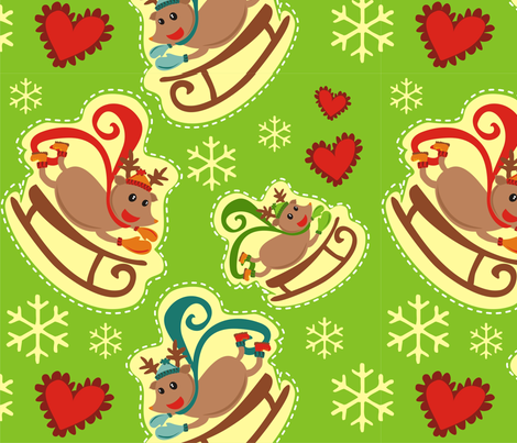 Green Reindeer Sleigh Big fabric by lauralvarez on Spoonflower - custom fabric