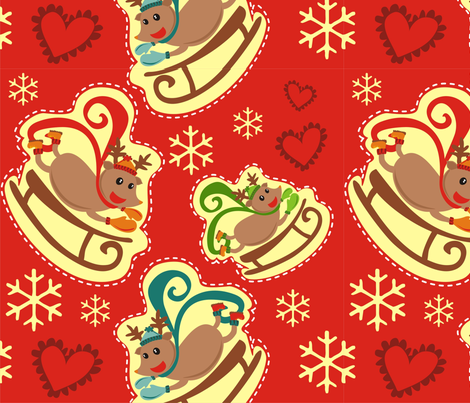 Red Reindeer Sleigh Big fabric by lauralvarez on Spoonflower - custom fabric