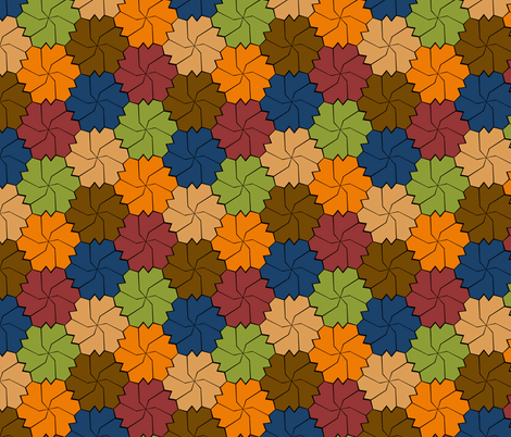 Colorful Floral Tessellated Hexagon - Red, Blue, Brown, Orange, Green