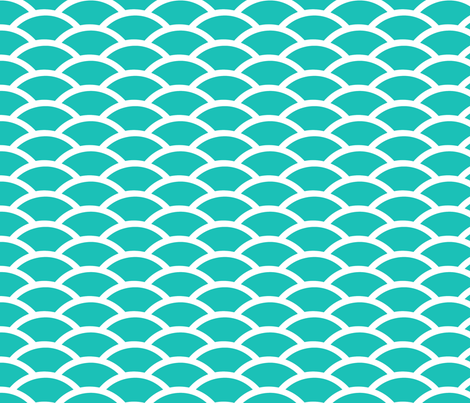 Scallop in Turquoise fabric by fridabarlow on Spoonflower - custom fabric