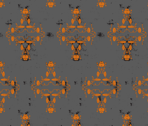 Gray Orange and Black Grunge Damask