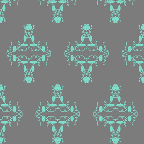 Gray and Aqua Damask