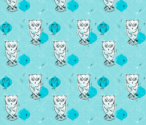 Owls Blue fabric by sandie_tee on Spoonflower - custom fabric