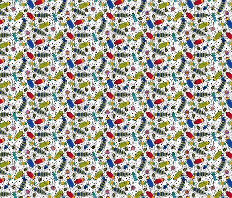 BUGS white fabric by beebumble on Spoonflower - custom fabric