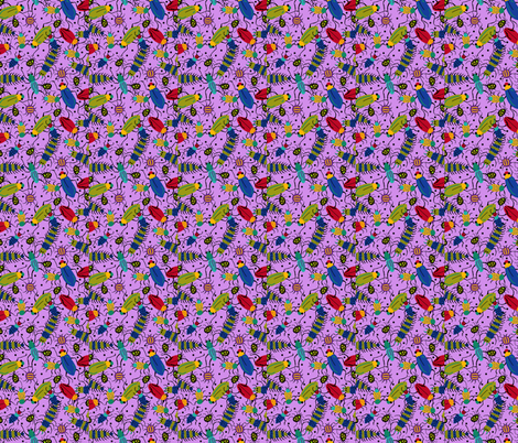 BUGS light purple fabric by beebumble on Spoonflower - custom fabric