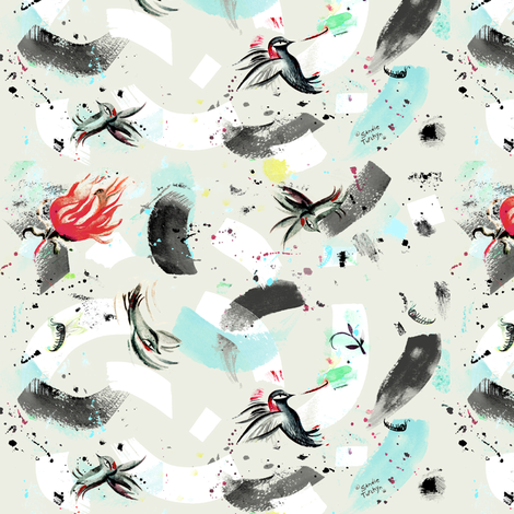 finch_and_hummingbird fabric by sandie_tee on Spoonflower - custom fabric