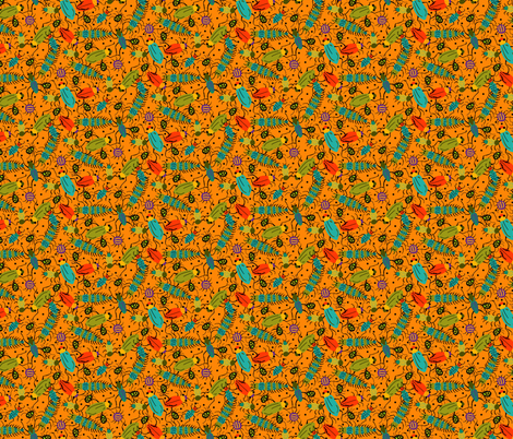 BUGS orange fabric by beebumble on Spoonflower - custom fabric