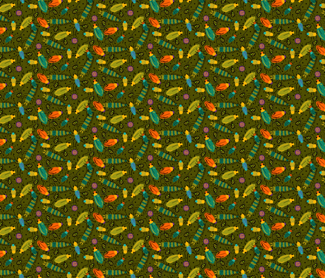 BUGS olive fabric by beebumble on Spoonflower - custom fabric