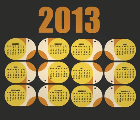 Calendar 2013 fabric by angelaferrara on Spoonflower - custom fabric