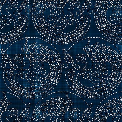 Sashiko: Koi - Carp fabric by bonnie_phantasm on Spoonflower - custom fabric