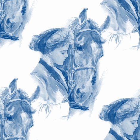 Equestrienne ~ Blue &amp; White fabric by peacoquettedesigns on Spoonflower - custom fabric