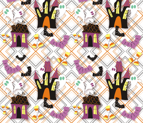 Haunted Ghost House fabric by lauralvarez on Spoonflower - custom fabric